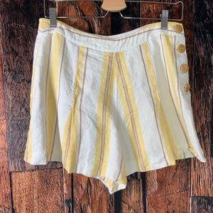 Betsey Johnson Linen Pleated Striped Shorts
